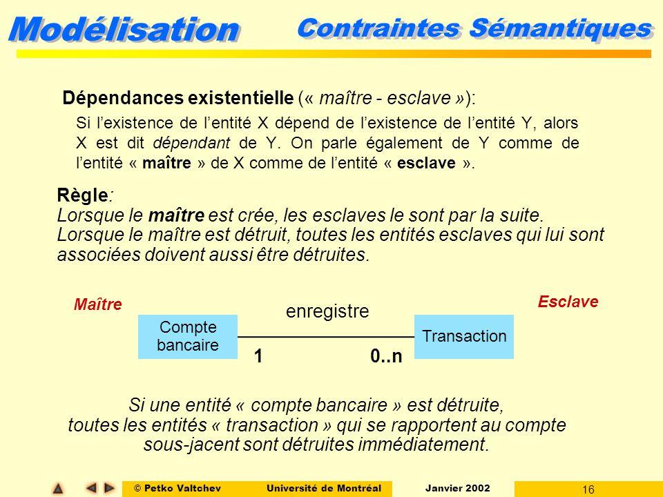 © Petko ValtchevUniversité de Montréal Janvier 2002 16 Modélisation Contraintes Sémantiques Dépendances existentielle (« maître - esclave »): Si lexis