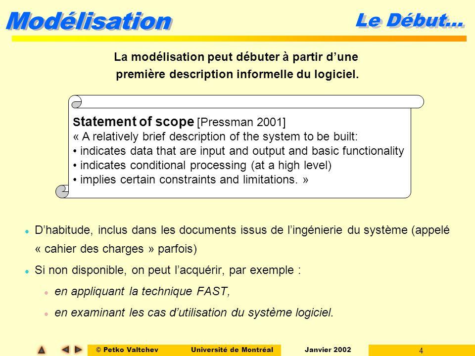 © Petko ValtchevUniversité de Montréal Janvier 2002 4 Modélisation l Dhabitude, inclus dans les documents issus de lingénierie du système (appelé « ca
