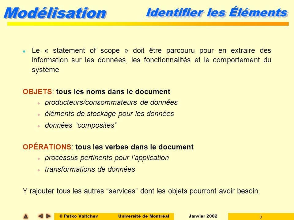 © Petko ValtchevUniversité de Montréal Janvier 2002 5 Modélisation l Le « statement of scope » doit être parcouru pour en extraire des information sur