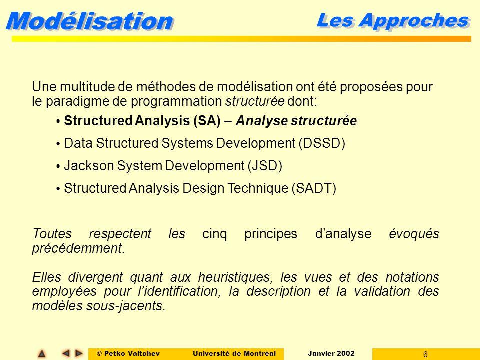 © Petko ValtchevUniversité de Montréal Janvier 2002 6 Modélisation Une multitude de méthodes de modélisation ont été proposées pour le paradigme de pr