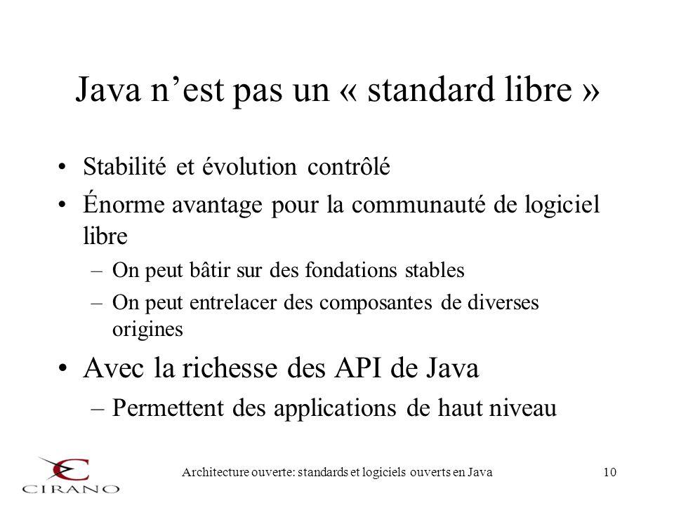 Architecture ouverte: standards et logiciels ouverts en Java10 Java nest pas un « standard libre » Stabilité et évolution contrôlé Énorme avantage pou