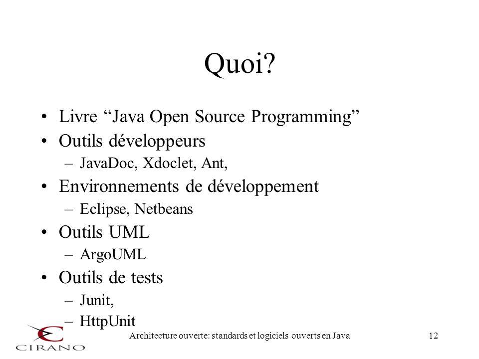 Architecture ouverte: standards et logiciels ouverts en Java12 Quoi? Livre Java Open Source Programming Outils développeurs –JavaDoc, Xdoclet, Ant, En