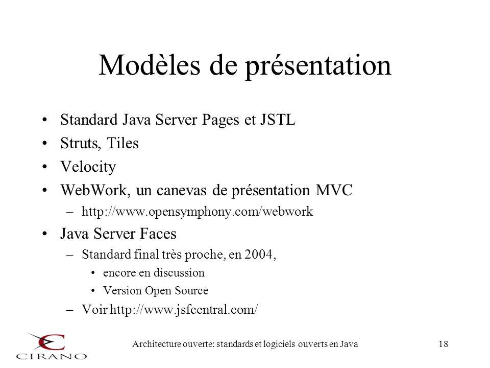 Architecture ouverte: standards et logiciels ouverts en Java18 Modèles de présentation Standard Java Server Pages et JSTL Struts, Tiles Velocity WebWo
