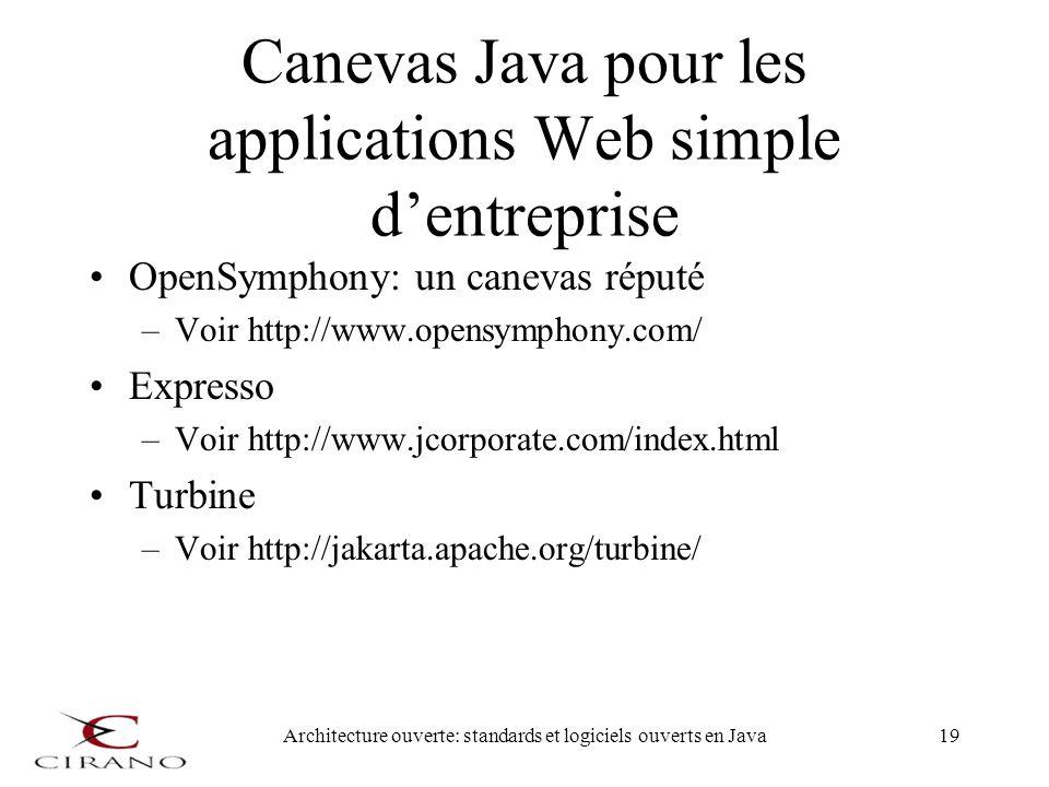 Architecture ouverte: standards et logiciels ouverts en Java19 Canevas Java pour les applications Web simple dentreprise OpenSymphony: un canevas répu