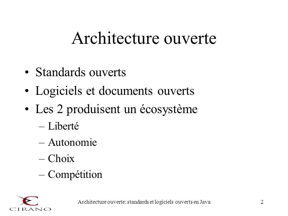 Architecture ouverte: standards et logiciels ouverts en Java3 Exemple Standard TCP/IP Logiciel libre TCP/IP avec BSD Maintenant intégré dans beaucoup de produits propriétaires Disponible avec les logiciels libres