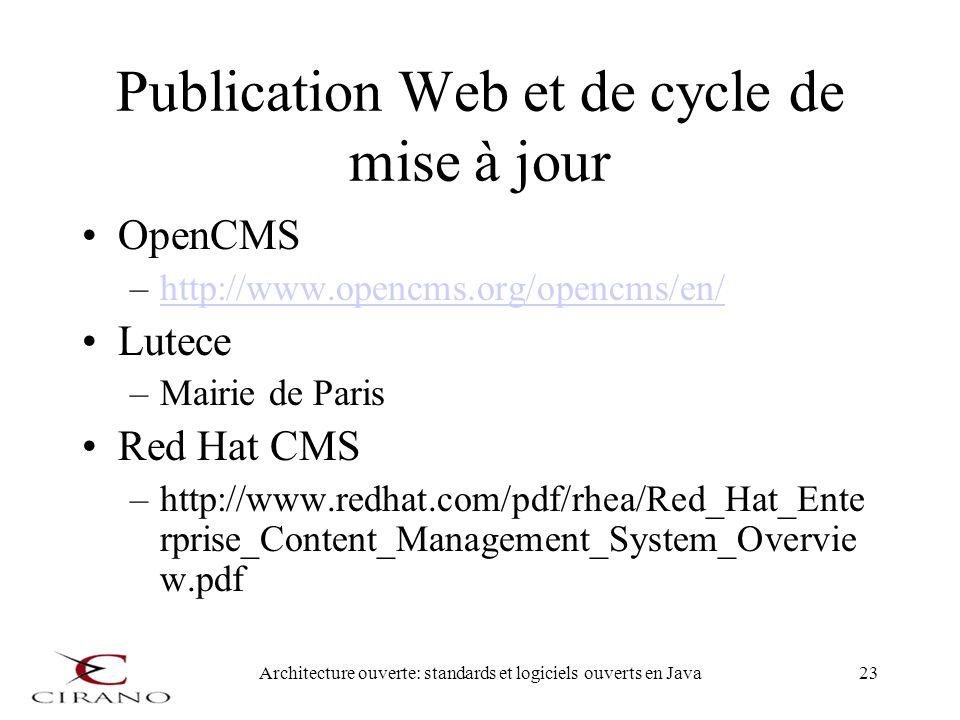 Architecture ouverte: standards et logiciels ouverts en Java23 Publication Web et de cycle de mise à jour OpenCMS –http://www.opencms.org/opencms/en/h