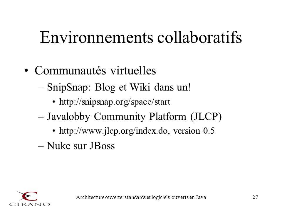 Architecture ouverte: standards et logiciels ouverts en Java27 Environnements collaboratifs Communautés virtuelles –SnipSnap: Blog et Wiki dans un! ht