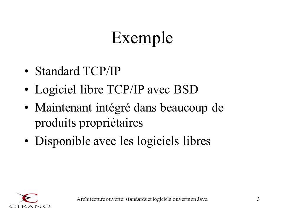 Architecture ouverte: standards et logiciels ouverts en Java3 Exemple Standard TCP/IP Logiciel libre TCP/IP avec BSD Maintenant intégré dans beaucoup
