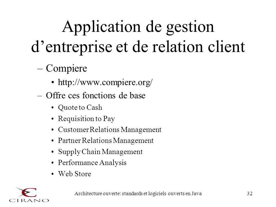 Architecture ouverte: standards et logiciels ouverts en Java32 Application de gestion dentreprise et de relation client –Compiere http://www.compiere.