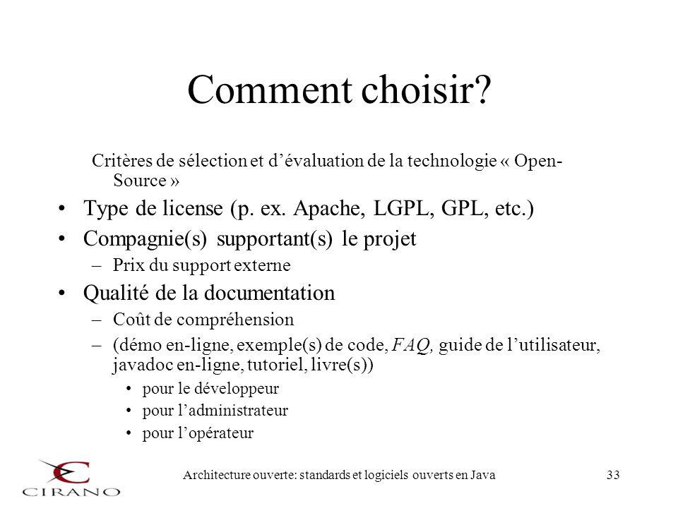 Architecture ouverte: standards et logiciels ouverts en Java33 Comment choisir? Critères de sélection et dévaluation de la technologie « Open- Source