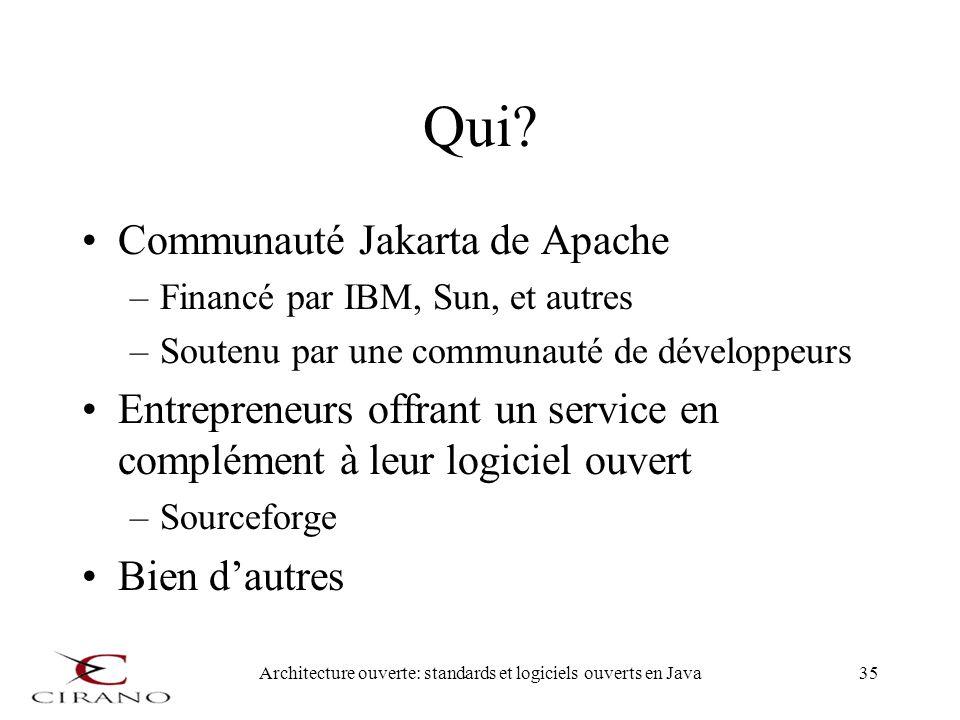 Architecture ouverte: standards et logiciels ouverts en Java35 Qui? Communauté Jakarta de Apache –Financé par IBM, Sun, et autres –Soutenu par une com