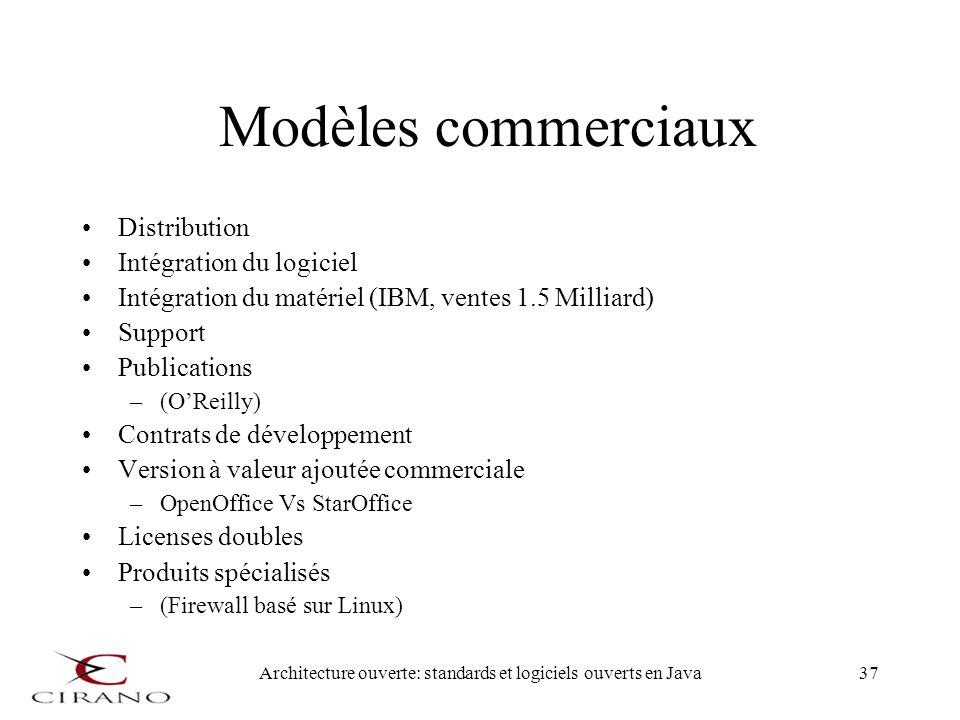 Architecture ouverte: standards et logiciels ouverts en Java37 Modèles commerciaux Distribution Intégration du logiciel Intégration du matériel (IBM,