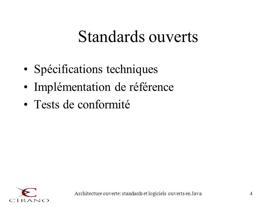 Architecture ouverte: standards et logiciels ouverts en Java4 Standards ouverts Spécifications techniques Implémentation de référence Tests de conform