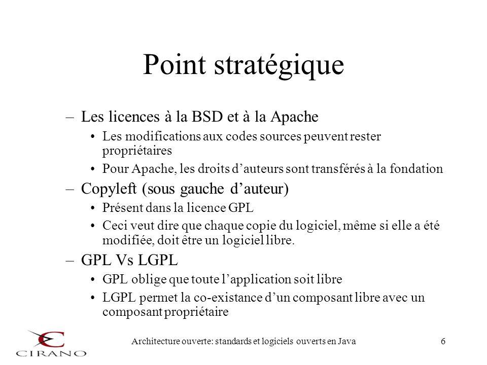 Architecture ouverte: standards et logiciels ouverts en Java6 Point stratégique –Les licences à la BSD et à la Apache Les modifications aux codes sour