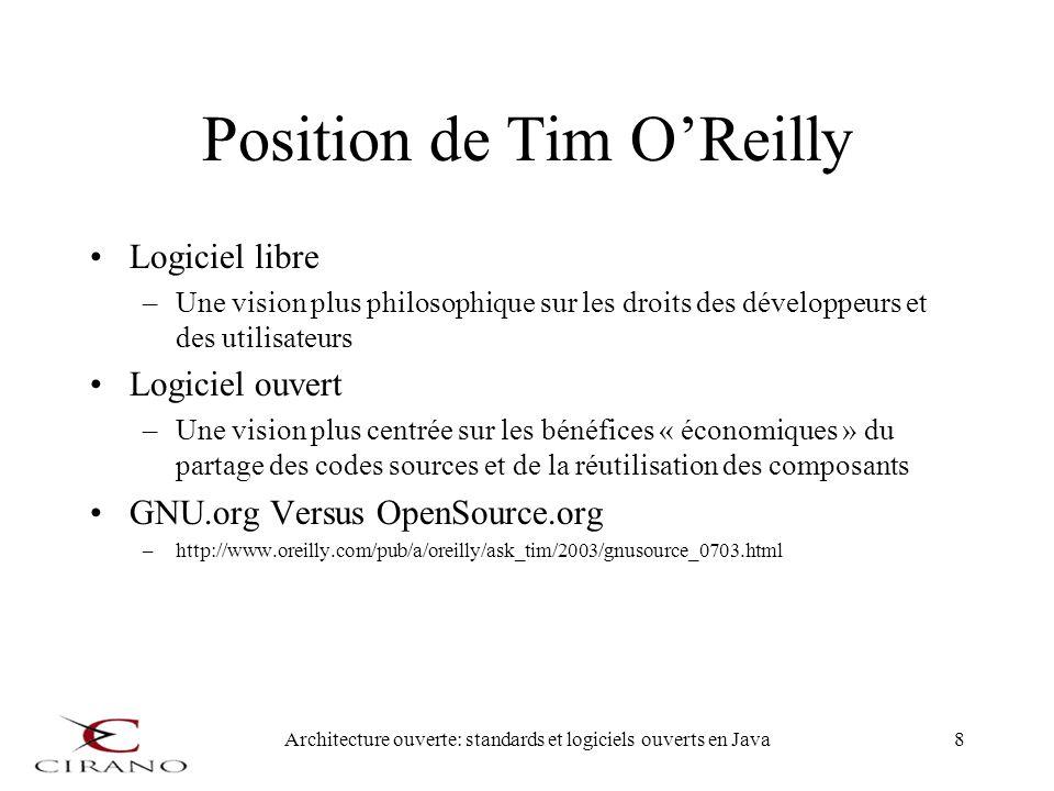 Architecture ouverte: standards et logiciels ouverts en Java8 Position de Tim OReilly Logiciel libre –Une vision plus philosophique sur les droits des