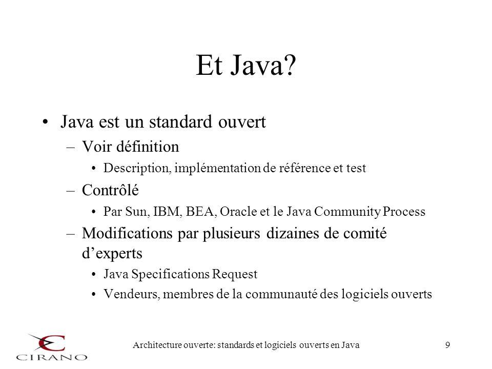 Architecture ouverte: standards et logiciels ouverts en Java10 Java nest pas un « standard libre » Stabilité et évolution contrôlé Énorme avantage pour la communauté de logiciel libre –On peut bâtir sur des fondations stables –On peut entrelacer des composantes de diverses origines Avec la richesse des API de Java –Permettent des applications de haut niveau