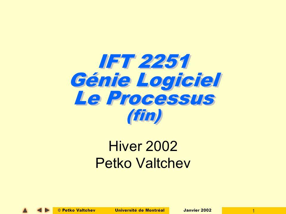 © Petko ValtchevUniversité de Montréal Janvier 2002 22 Bases Les Activités Maintenance l Objectif : Sassurer que le logiciel livré continue de répondre aux besoins du client qui peuvent évoluer dans la période post-livraison.