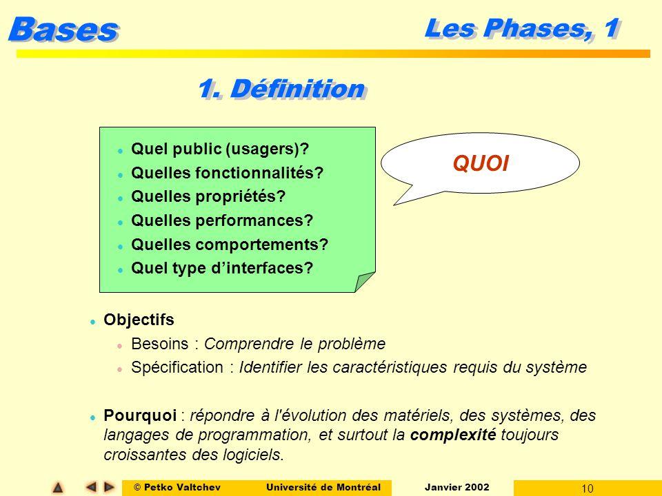 © Petko ValtchevUniversité de Montréal Janvier 2002 10 Bases Les Phases, 1 l Objectifs l Besoins : Comprendre le problème l Spécification : Identifier