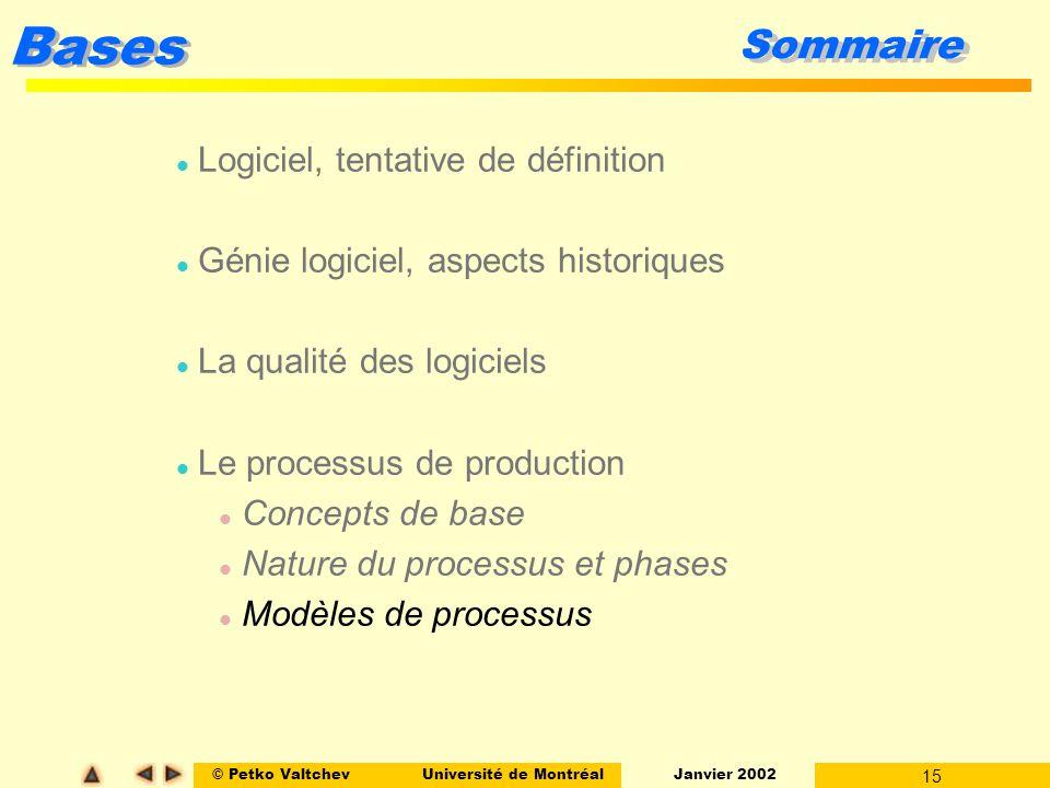 © Petko ValtchevUniversité de Montréal Janvier 2002 15 Bases Sommaire l Logiciel, tentative de définition l Génie logiciel, aspects historiques l La q