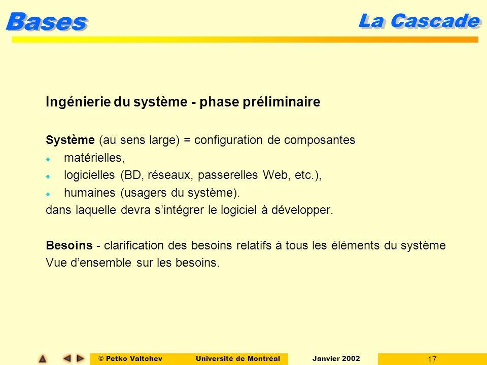 © Petko ValtchevUniversité de Montréal Janvier 2002 17 Bases La Cascade Ingénierie du système - phase préliminaire Système (au sens large) = configura