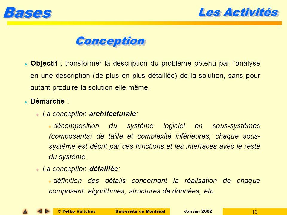 © Petko ValtchevUniversité de Montréal Janvier 2002 19 Bases Les Activités Conception l Objectif : transformer la description du problème obtenu par l