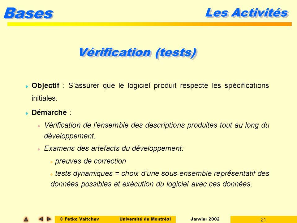 © Petko ValtchevUniversité de Montréal Janvier 2002 21 Bases Les Activités Vérification (tests) l Objectif : Sassurer que le logiciel produit respecte