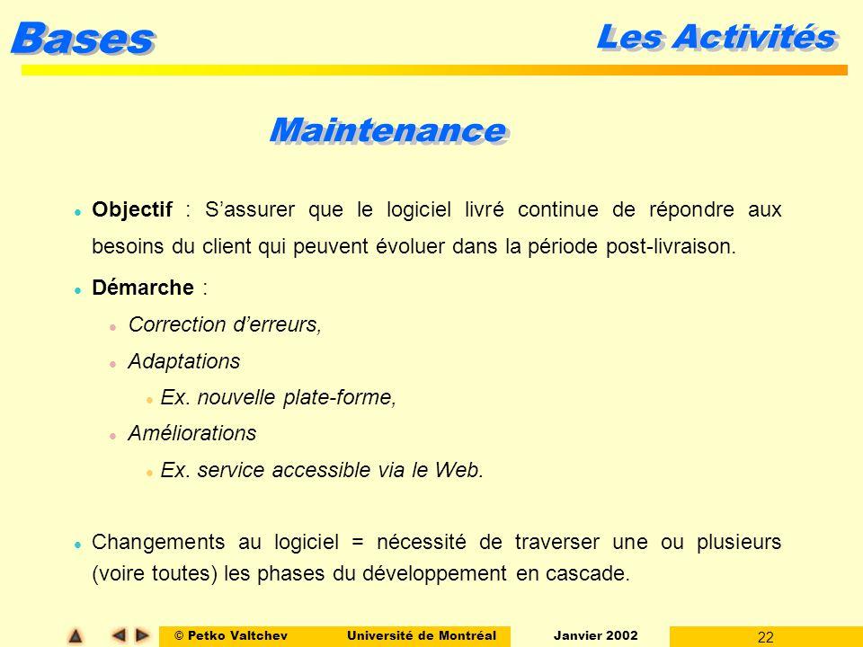 © Petko ValtchevUniversité de Montréal Janvier 2002 22 Bases Les Activités Maintenance l Objectif : Sassurer que le logiciel livré continue de répondr