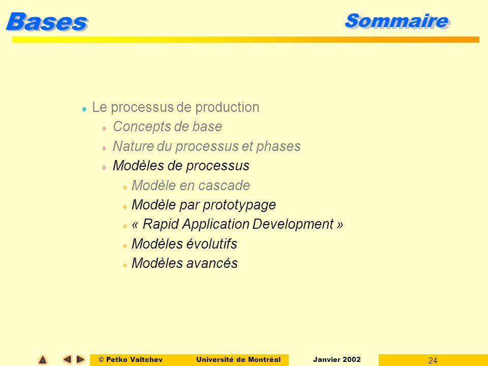 © Petko ValtchevUniversité de Montréal Janvier 2002 24 Bases Sommaire l Le processus de production l Concepts de base l Nature du processus et phases