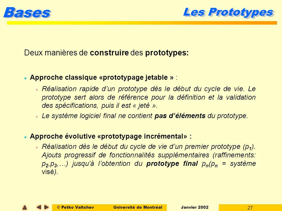 © Petko ValtchevUniversité de Montréal Janvier 2002 27 Bases Les Prototypes Deux manières de construire des prototypes: l Approche classique «prototyp