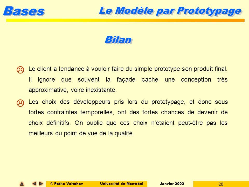 © Petko ValtchevUniversité de Montréal Janvier 2002 28 Bases Le Modèle par Prototypage Bilan l Le client a tendance à vouloir faire du simple prototyp