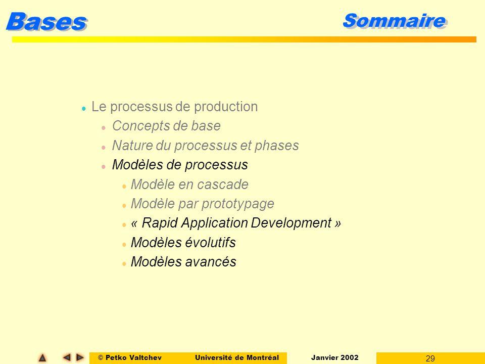 © Petko ValtchevUniversité de Montréal Janvier 2002 29 Bases Sommaire l Le processus de production l Concepts de base l Nature du processus et phases