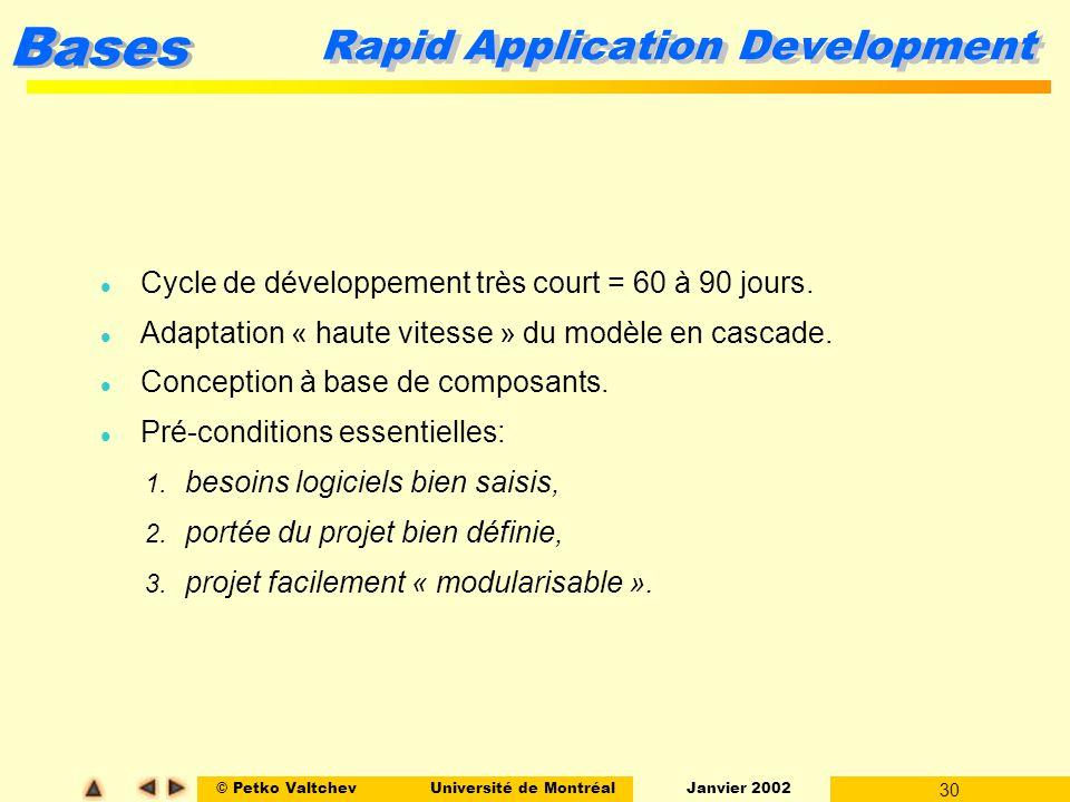© Petko ValtchevUniversité de Montréal Janvier 2002 30 Bases Rapid Application Development l Cycle de développement très court = 60 à 90 jours. l Adap