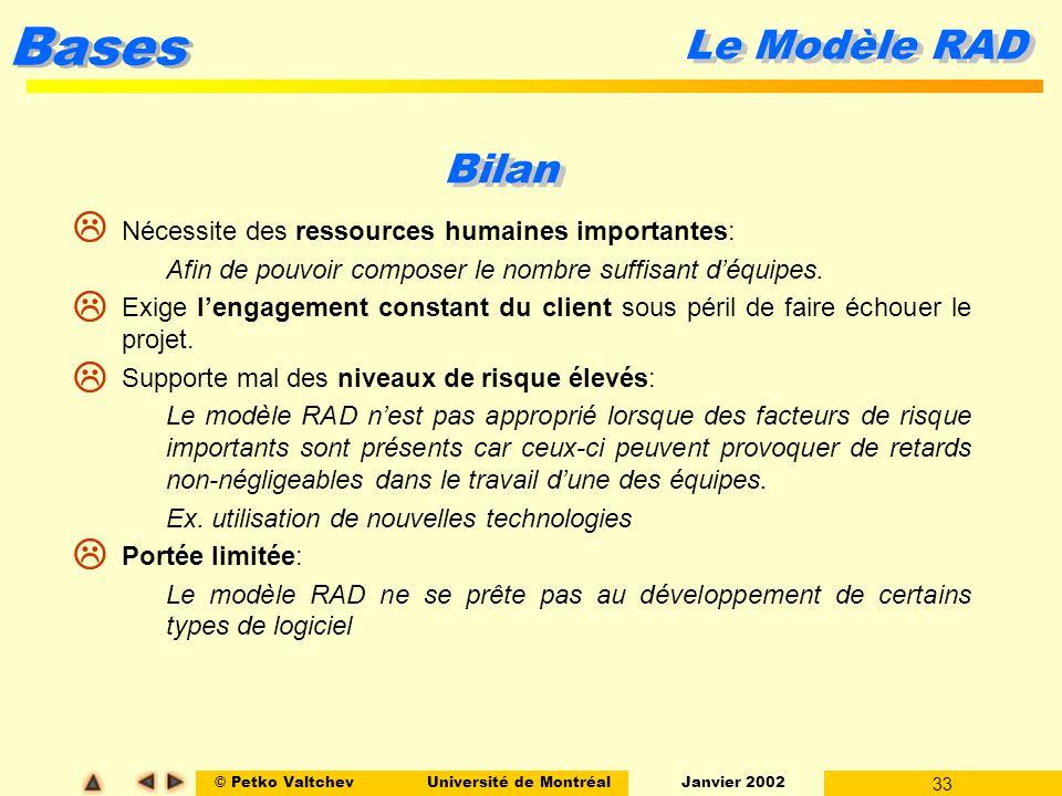 © Petko ValtchevUniversité de Montréal Janvier 2002 33 Bases Le Modèle RAD Bilan l Nécessite des ressources humaines importantes: l Afin de pouvoir co