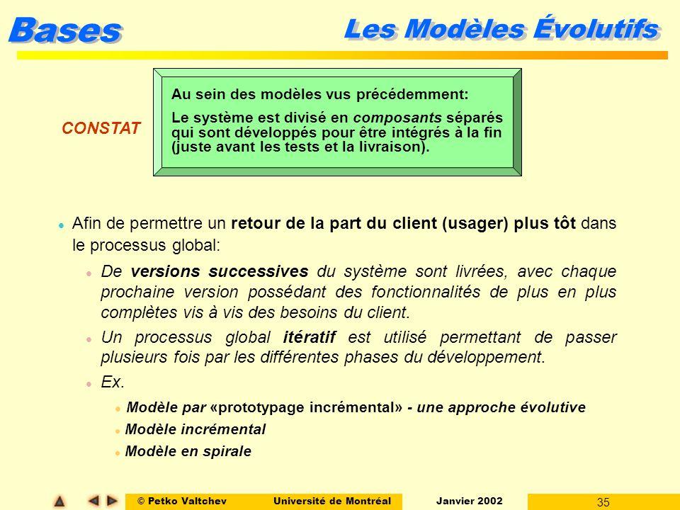 © Petko ValtchevUniversité de Montréal Janvier 2002 35 Bases Les Modèles Évolutifs l Afin de permettre un retour de la part du client (usager) plus tô