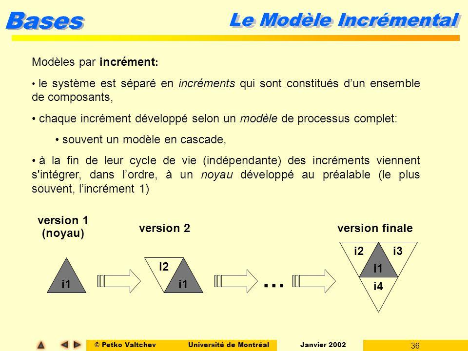 © Petko ValtchevUniversité de Montréal Janvier 2002 36 Bases Modèles par incrément : le système est séparé en incréments qui sont constitués dun ensem