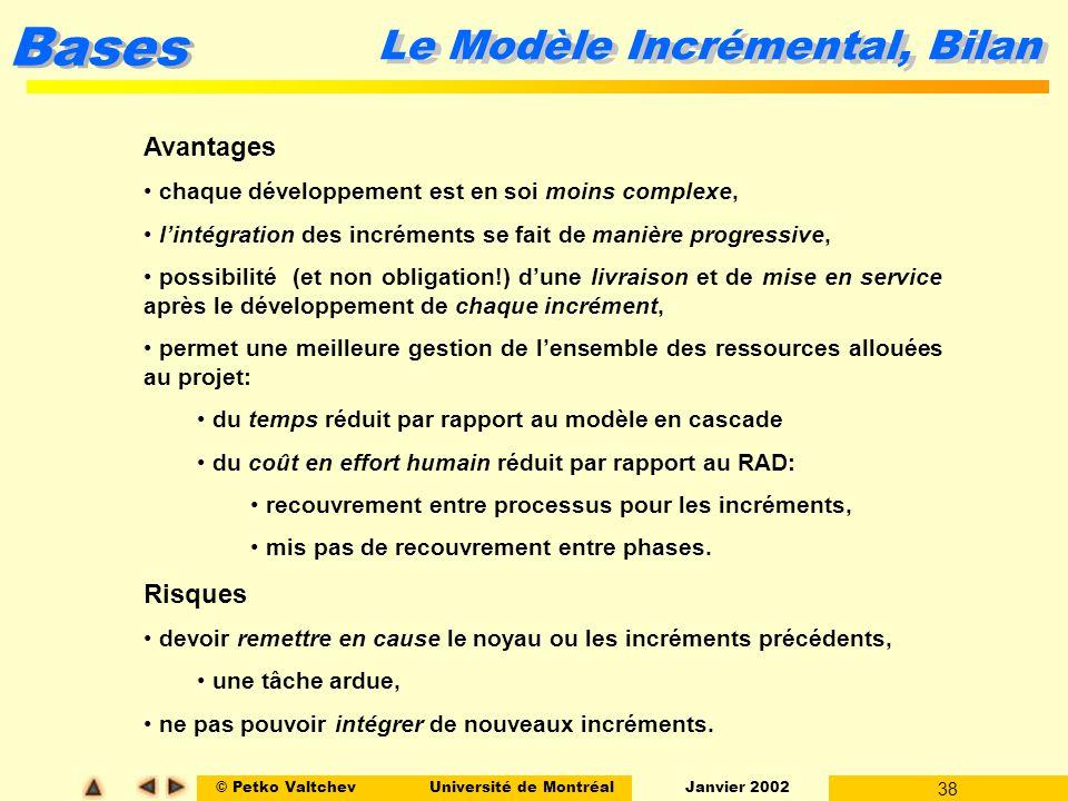© Petko ValtchevUniversité de Montréal Janvier 2002 38 Bases Avantages chaque développement est en soi moins complexe, lintégration des incréments se