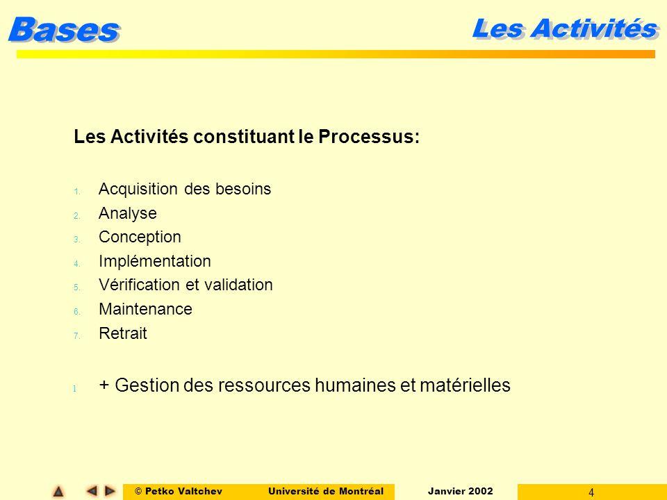 © Petko ValtchevUniversité de Montréal Janvier 2002 4 Bases Les Activités Les Activités constituant le Processus: 1. Acquisition des besoins 2. Analys
