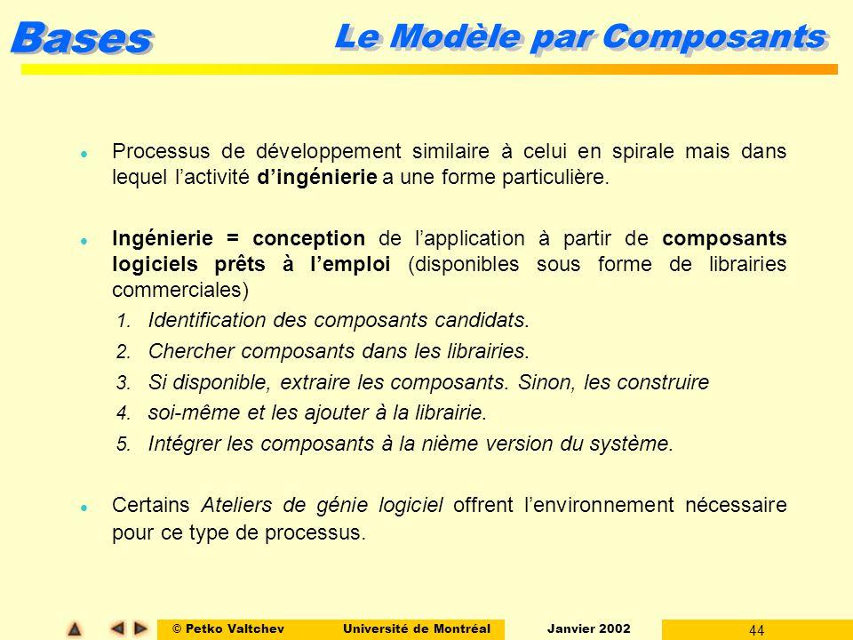 © Petko ValtchevUniversité de Montréal Janvier 2002 44 Bases Le Modèle par Composants l Processus de développement similaire à celui en spirale mais d