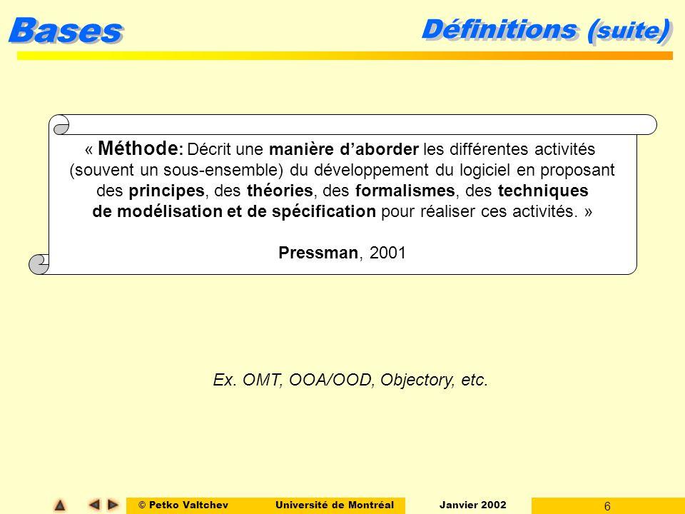 © Petko ValtchevUniversité de Montréal Janvier 2002 17 Bases La Cascade Ingénierie du système - phase préliminaire Système (au sens large) = configuration de composantes l matérielles, l logicielles (BD, réseaux, passerelles Web, etc.), l humaines (usagers du système).