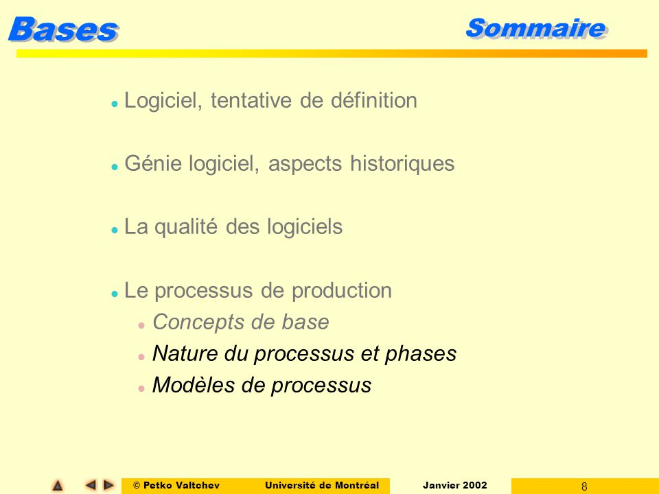 © Petko ValtchevUniversité de Montréal Janvier 2002 8 Bases Sommaire l Logiciel, tentative de définition l Génie logiciel, aspects historiques l La qu