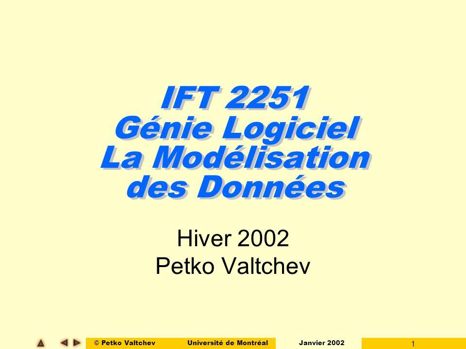 © Petko ValtchevUniversité de Montréal Janvier 2002 1 IFT 2251 Génie Logiciel La Modélisation des Données Hiver 2002 Petko Valtchev