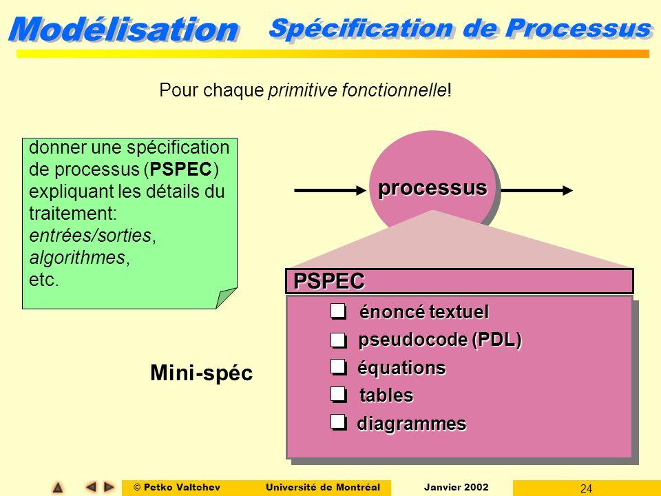 © Petko ValtchevUniversité de Montréal Janvier 2002 24 Modélisation processusprocessus PSPEC énoncé textuel pseudocode (PDL) équations tables diagrammes Mini-spéc Spécification de Processus Pour chaque primitive fonctionnelle.