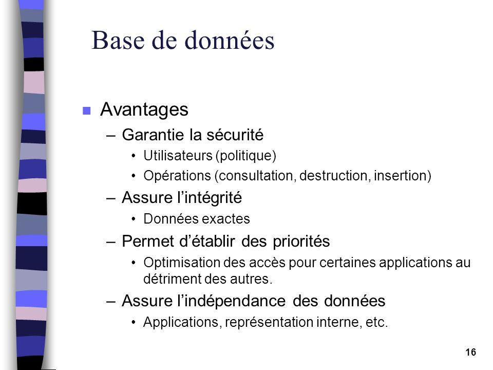 16 Base de données n Avantages –Garantie la sécurité Utilisateurs (politique) Opérations (consultation, destruction, insertion) –Assure lintégrité Don