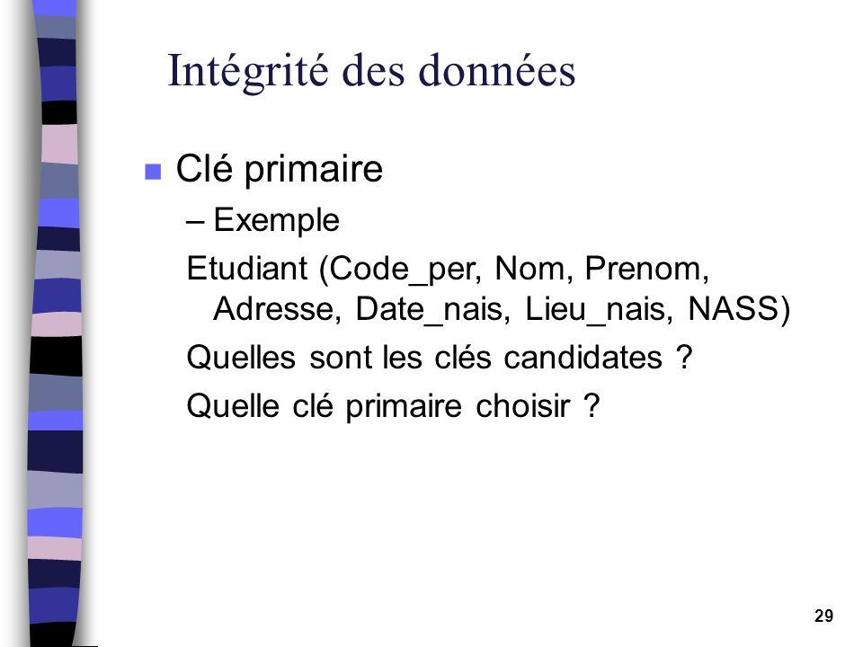29 Intégrité des données n Clé primaire –Exemple Etudiant (Code_per, Nom, Prenom, Adresse, Date_nais, Lieu_nais, NASS) Quelles sont les clés candidate