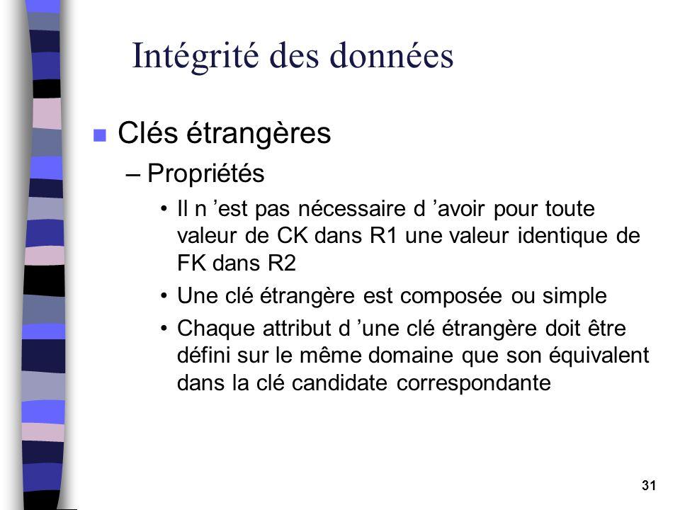 31 Intégrité des données n Clés étrangères –Propriétés Il n est pas nécessaire d avoir pour toute valeur de CK dans R1 une valeur identique de FK dans