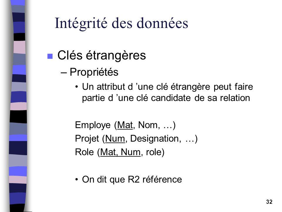 32 Intégrité des données n Clés étrangères –Propriétés Un attribut d une clé étrangère peut faire partie d une clé candidate de sa relation Employe (M