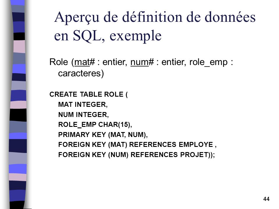 44 Aperçu de définition de données en SQL, exemple Role (mat# : entier, num# : entier, role_emp : caracteres) CREATE TABLE ROLE ( MAT INTEGER, NUM INT