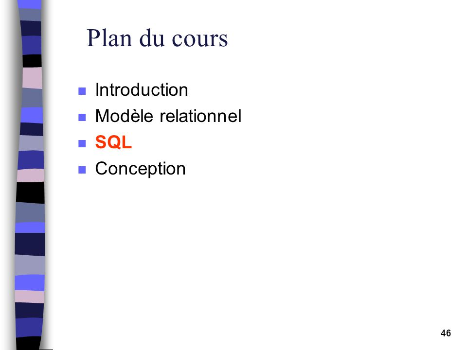 46 Plan du cours n Introduction n Modèle relationnel n SQL n Conception