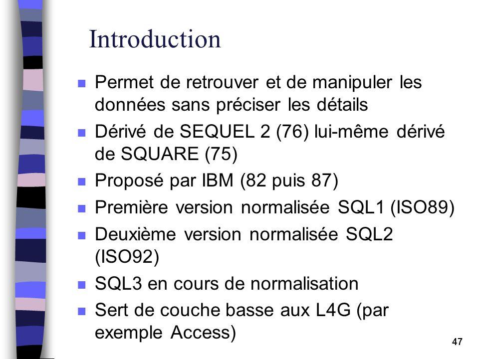 47 Introduction n Permet de retrouver et de manipuler les données sans préciser les détails n Dérivé de SEQUEL 2 (76) lui-même dérivé de SQUARE (75) n