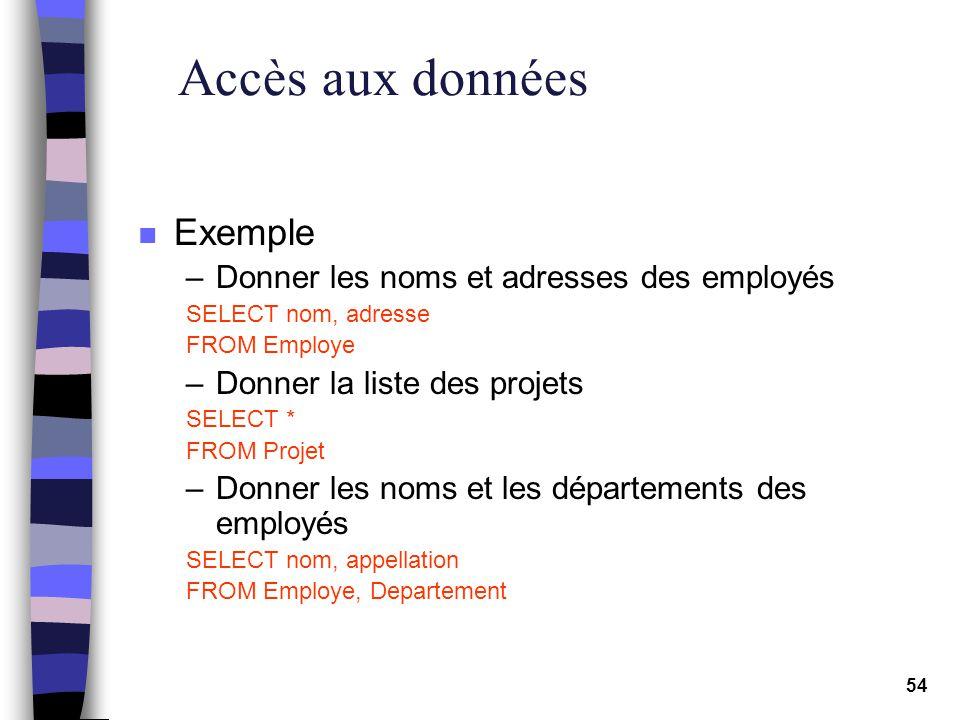 54 Accès aux données n Exemple –Donner les noms et adresses des employés SELECT nom, adresse FROM Employe –Donner la liste des projets SELECT * FROM P
